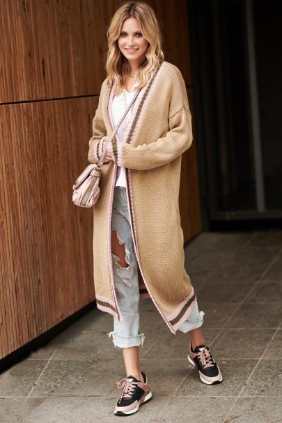 Sweter długi orzechowy S89