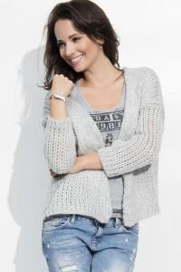 Sweter kardigan szary NU_S18