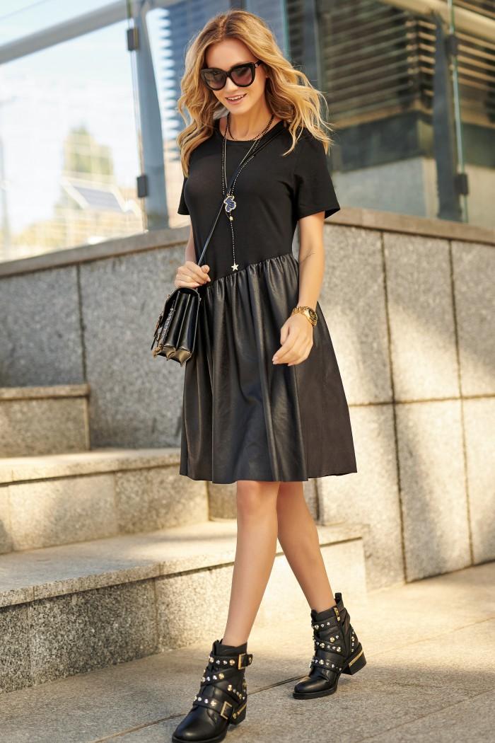 Sukienka czarna z eko-skórą M531
