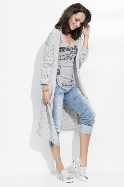 Sweter kardigan szary NU_S19