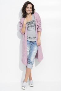 Sweter kardigan różówy NU_S19
