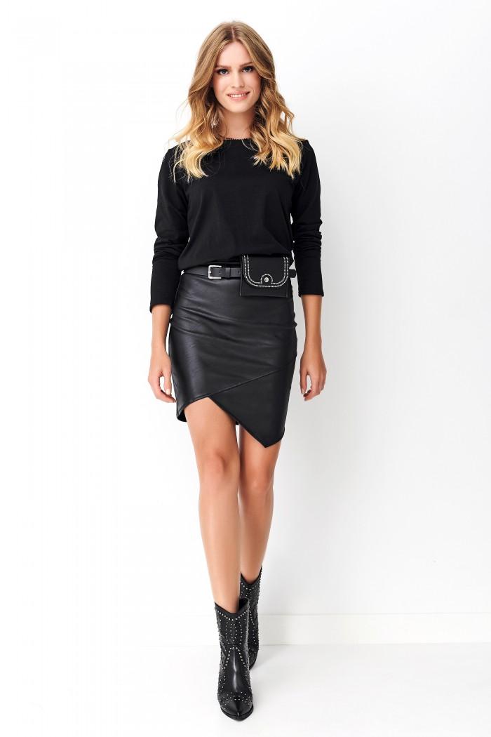 Sukienka z dołem z eko-skóry czarna NU239