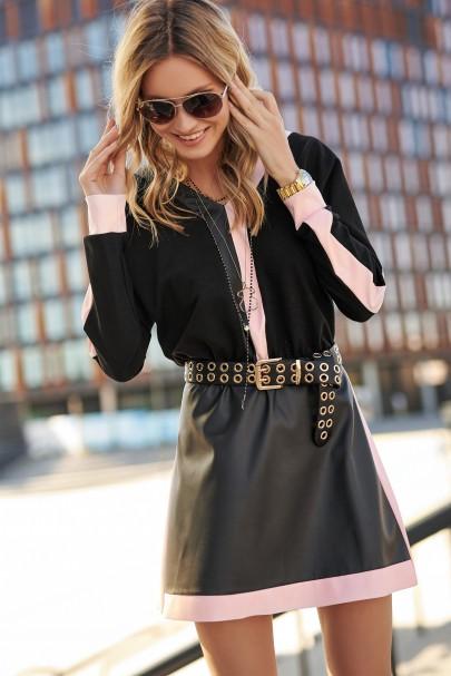 Sukienka czarna z pudrowym...