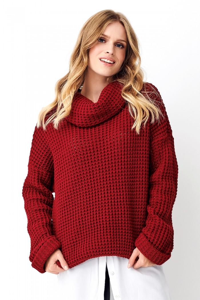 Sweter z golfem bordowy NU_S71