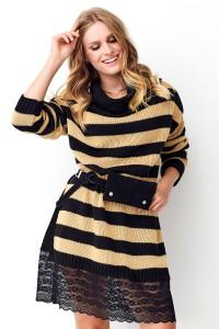 Sweter w paski camelowy NU_S72