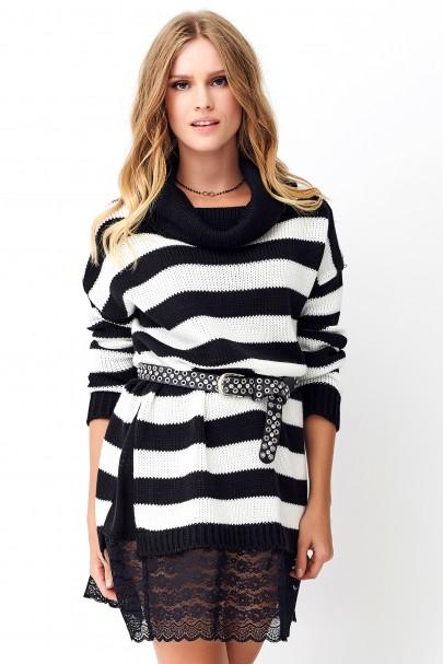 Sweter w paski ecru NU_S72