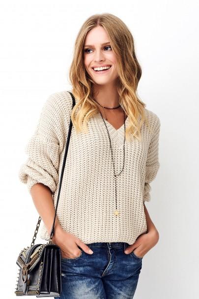 Klasyczny sweter beżowy NU_S73