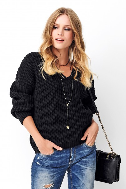 Klasyczny sweter czarny NU_S73