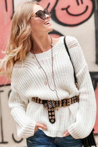 Klasyczny sweter ecru NU_S74