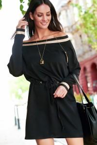 Sukienka z ozdobną taśmą czarna NU211