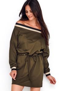 Sukienka z ozdobną taśmą khaki NU211