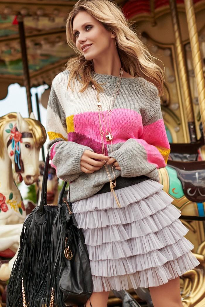Kolorowy sweter szary melanż S96