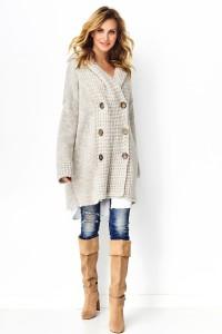 Sweter z guzikami beżowy melanż S90