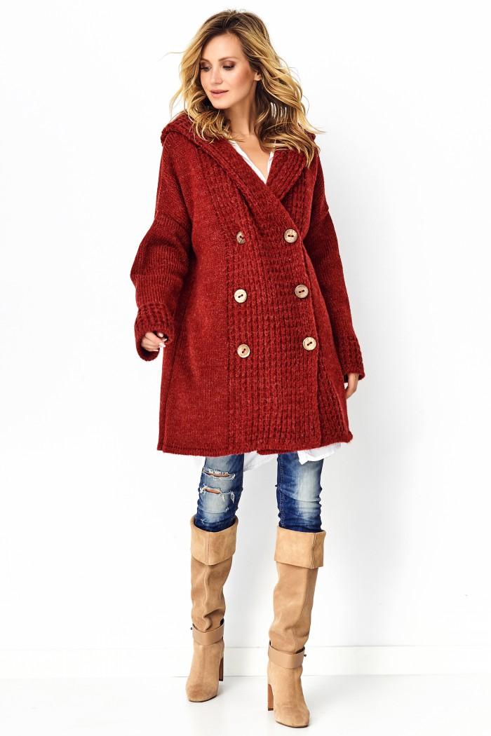 Sweter z guzikami buraczany S90