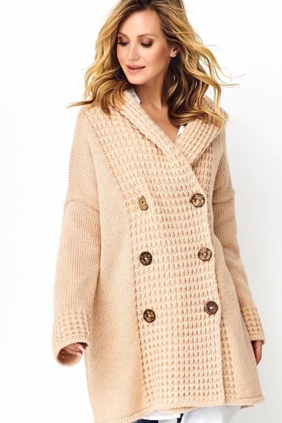 Sweter z guzikami cielisty...
