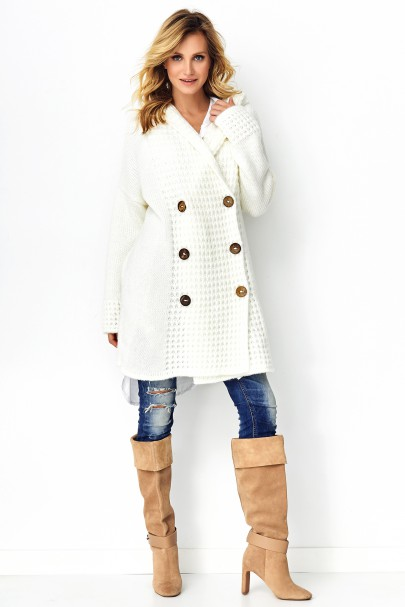 Sweter z guzikami ecru S90