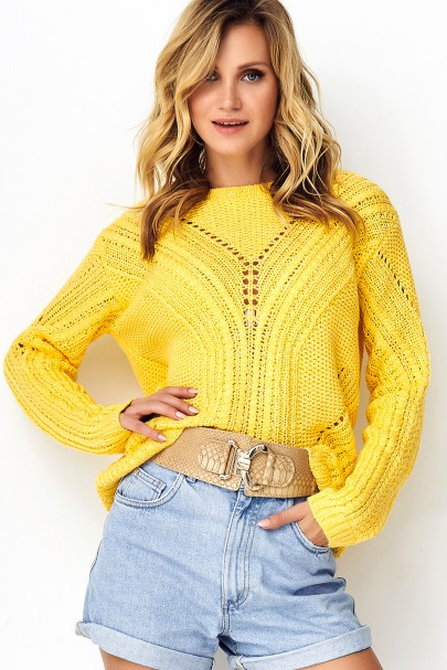 Ażurkowy sweter żółty S93