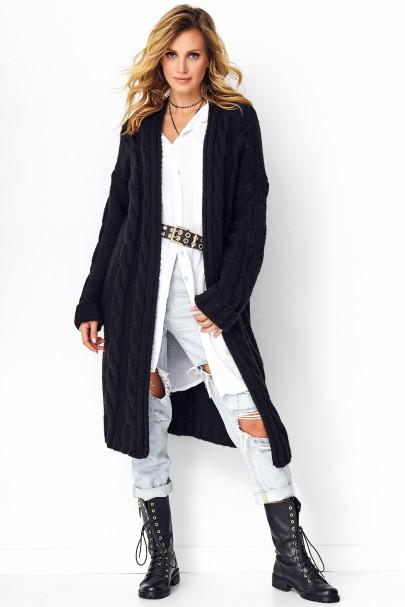 Sweter z warkoczami czarny S95