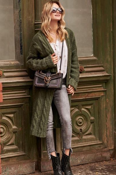 Sweter z warkoczami khaki S95