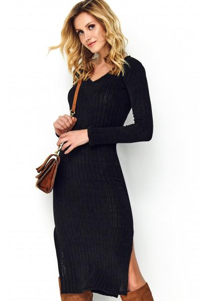 Dzianinowa sukienka czarna S99
