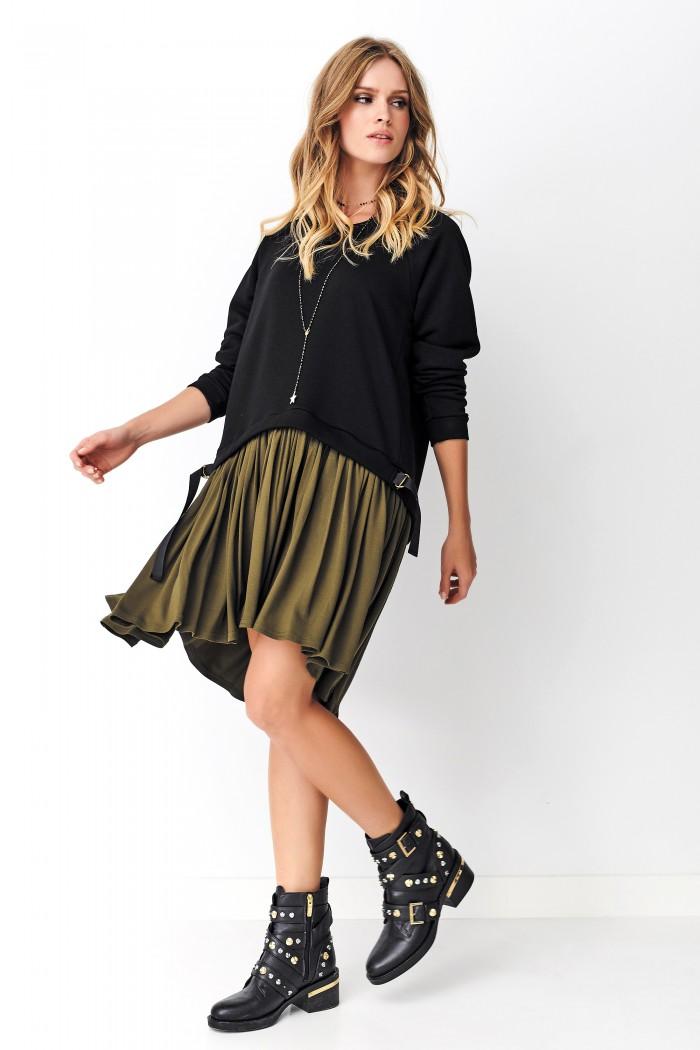 Asymetryczna sukienka czarna z khaki NU275