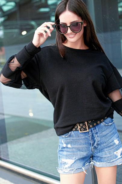 Czarna bluza z tiulem NU229