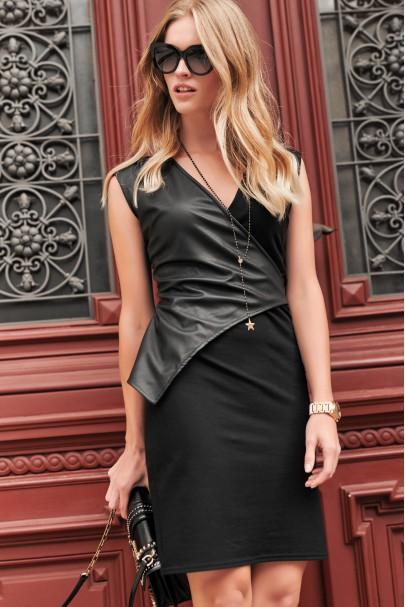 Czarna sukienka z eko-skórą...