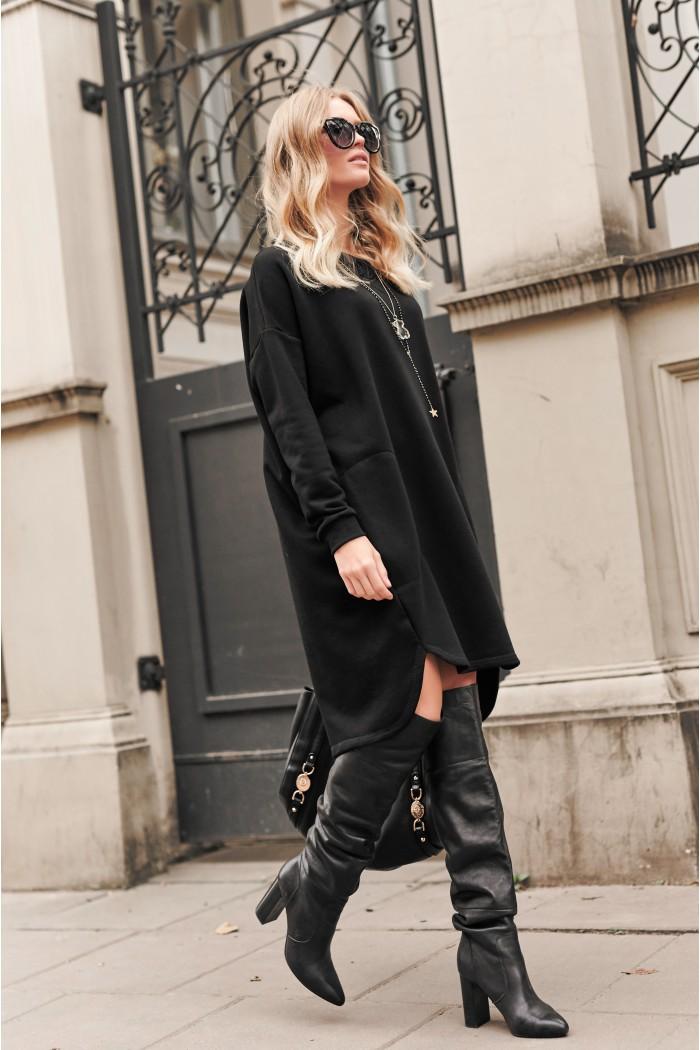 Czarna oversizowa sukienka NU270