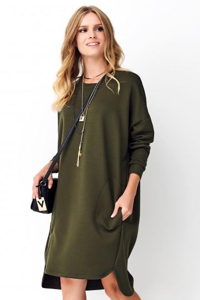 Khaki oversizowa sukienka...