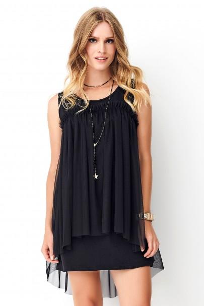 Czarna sukienka z tiulem NU273