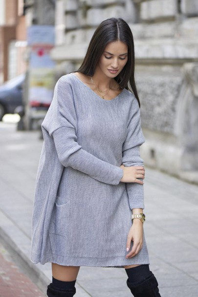 Sweter szary oversize NU_S20