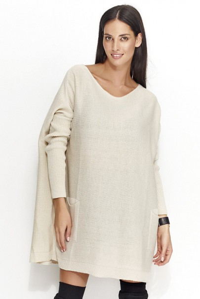 Sweter beżowy oversize NU_S20